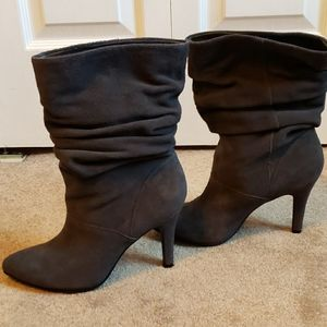 Gray Suede Scrunch Boots